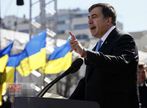 Former Georgian president Mikhail Saakashvili addresses members of a Batkivshchyna party during a meeting in central Kiev, March 29, 2014. Ukrainian former prime minister Yulia Tymoshenko, released from jail last month after her arch-foe Viktor Yanukovich fled from power, was nominated as presidential candidate at the Batkivshchyna party meeting for the election on May 25.  REUTERS/Gleb Garanich  (UKRAINE - Tags: POLITICS ELECTIONS) - RTR3J3K4