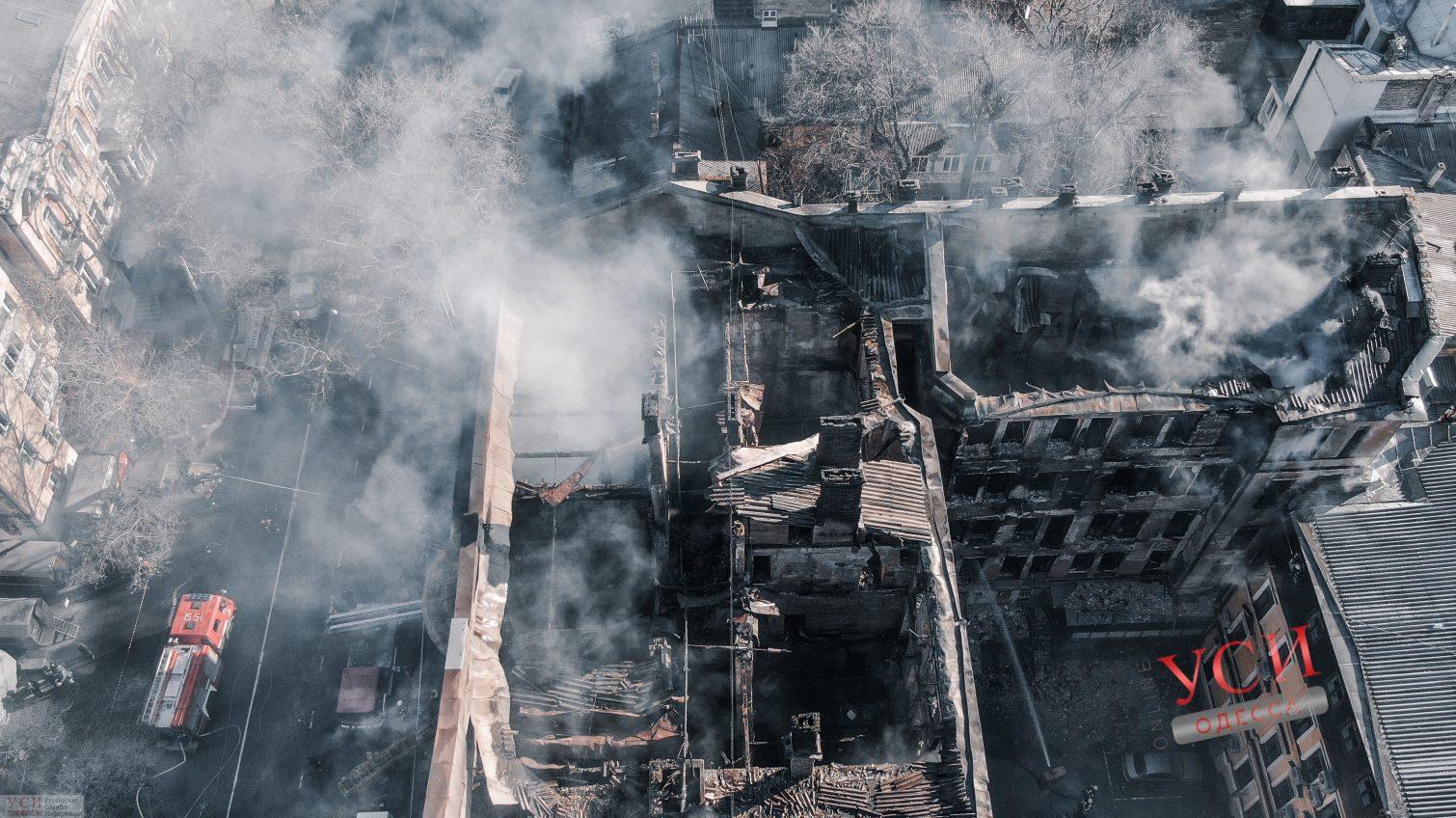 Последствия пожара в экономическом колледже Одессы (аэросъемка) «фото»