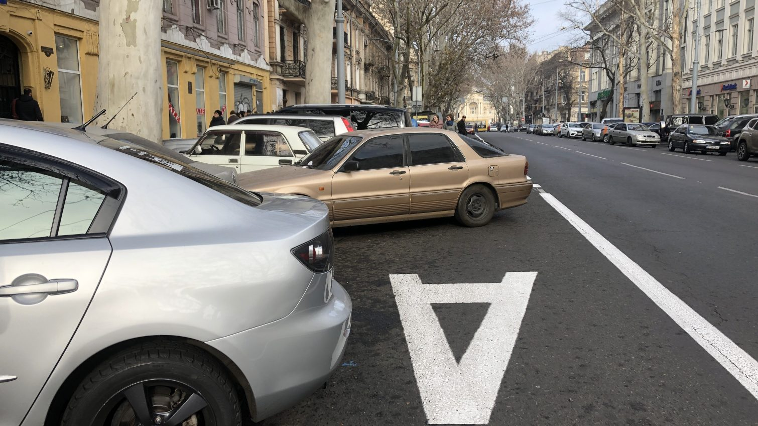 Разметку выделенной полосы на Ришельевской «похитил» туман «фото»