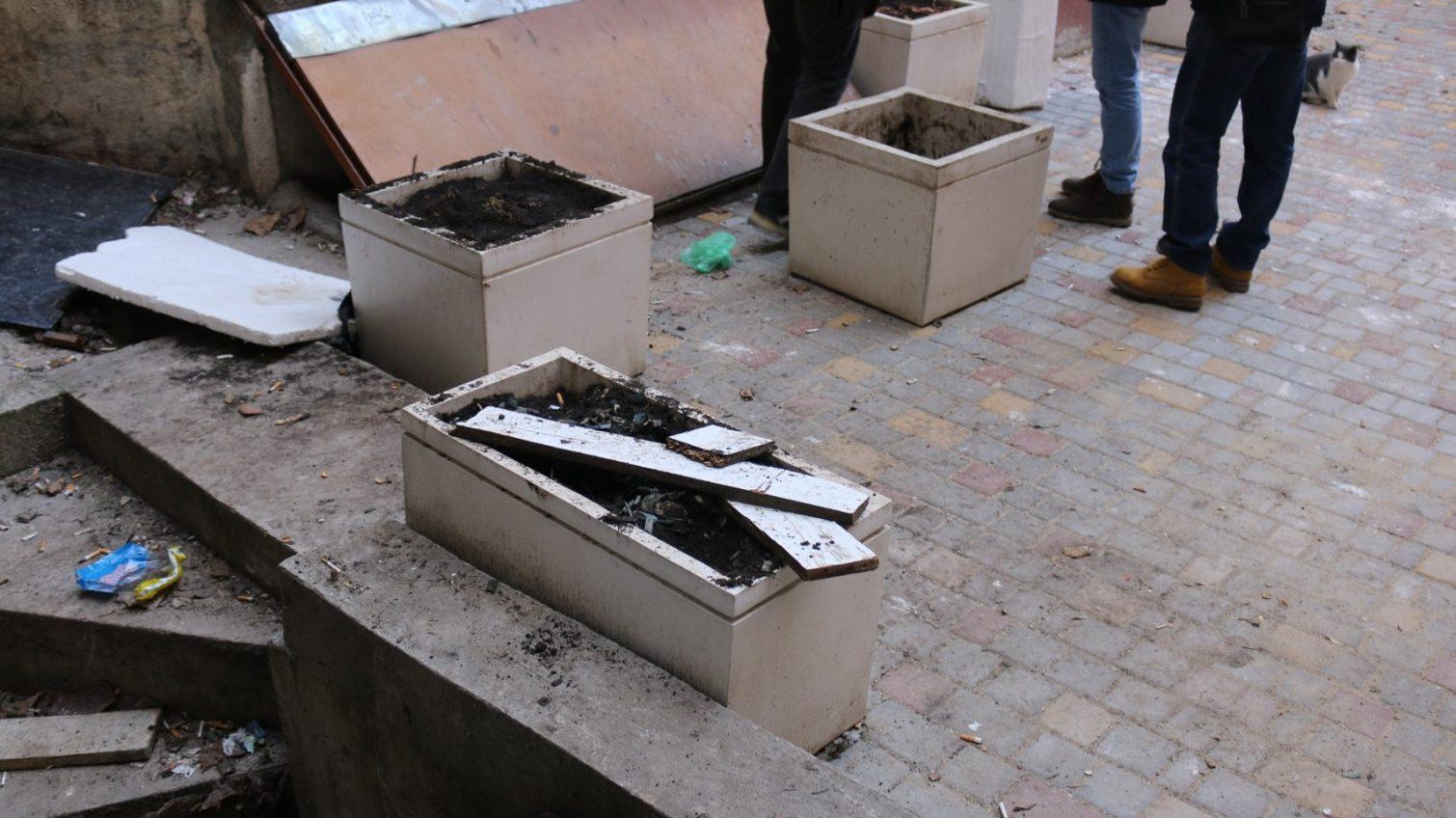 В Одессе сразу после ремонта во дворе украли растения в вазонах вместе с землей (фото, документ) «фото»