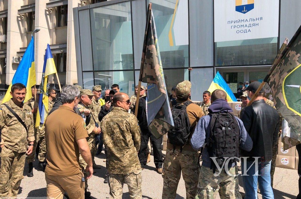 Ветераны АТО из Черноморска приехали на митинг к Одесской ОГА, чтобы ускорить согласование строительства дома (фото, видео) «фото»