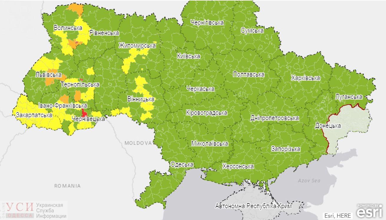 В Одессе – значительный уровень распространения COVID-19, в Беляевке – красная зона «фото»
