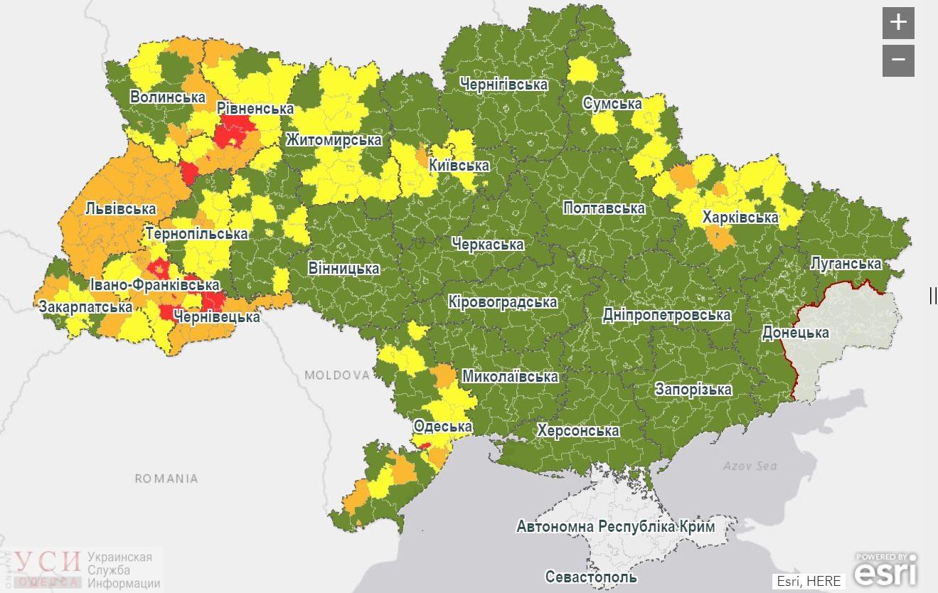 Беляевка – в красной зоне, Измаил и 4 района – в оранжевой, в желтой – 6 городов и 8 районов: новое распределение по уровням опасности COVID-19 «фото»