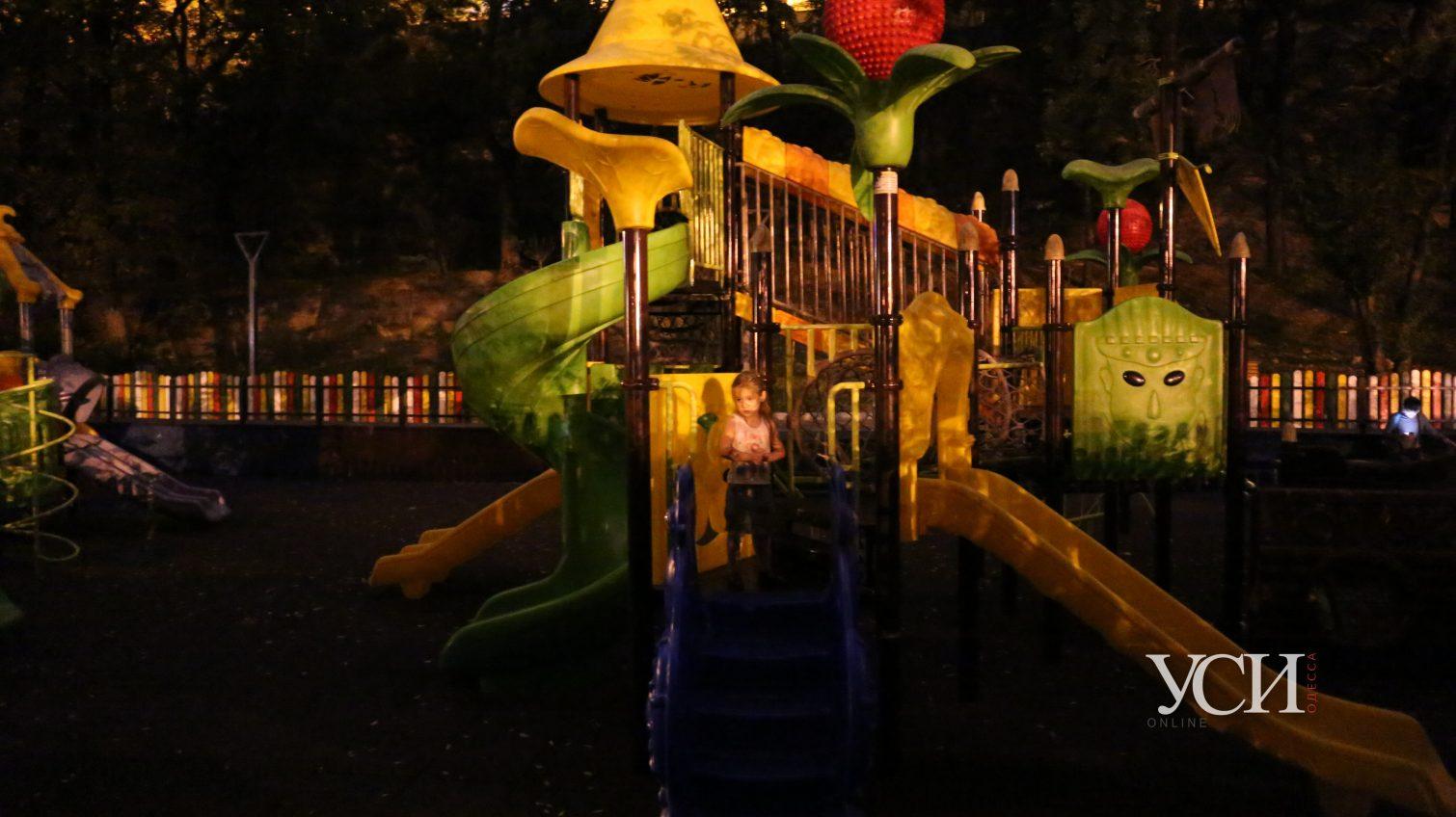 Отдых на ощупь: в Греческом парке детская площадка осталась без освещения (фото, видео) «фото»