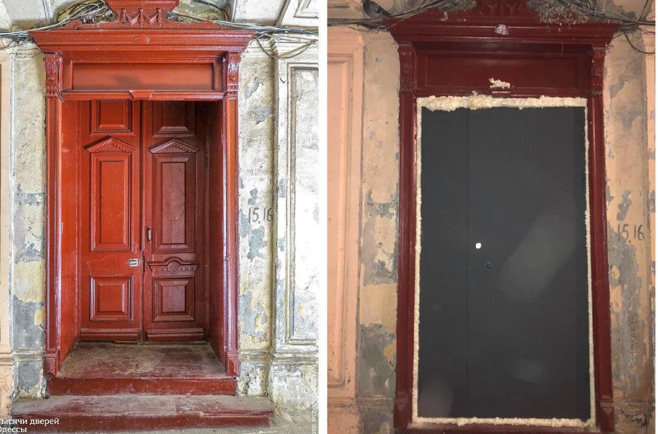 Бюджетная реставрация по-одесски: в историческом доме, где жил Александр Дерибас, заменили старинную дверь на новодел «фото»