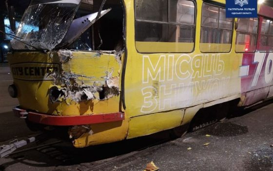 На Котовского грузовик въехал в трамвай (фото) «фото»