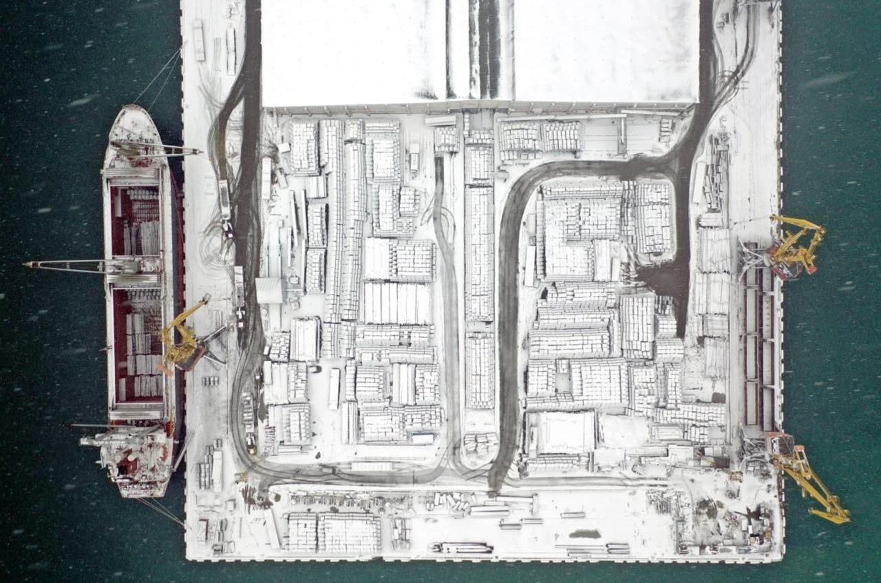 Зима в морском городе: как выглядит заснеженный Одесский порт (фото) «фото»