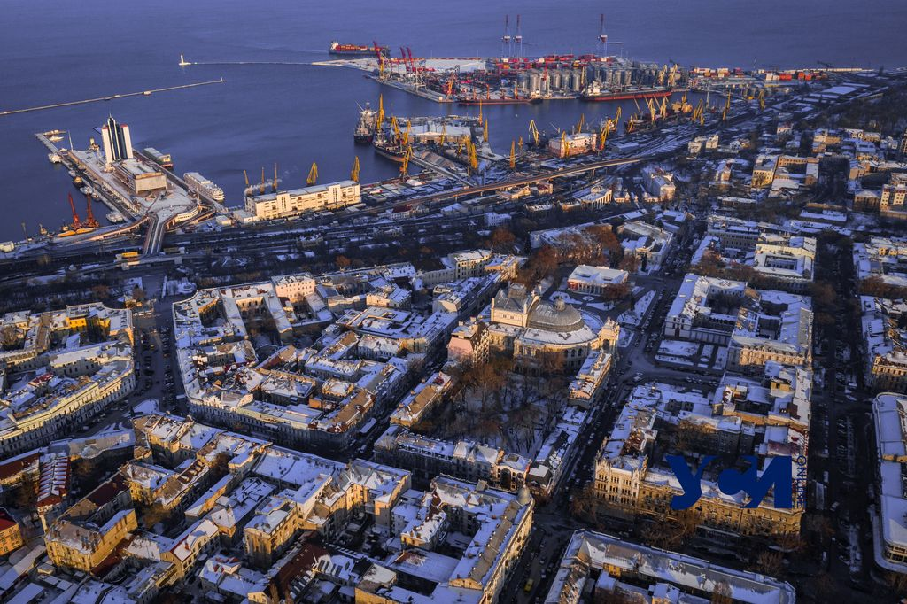 Зимняя Одесса с высоты птичьего полета (видео) «фото»