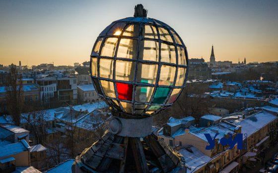 Одесса перед закатом в яркий морозный день  (аэросъемка, фото) «фото»