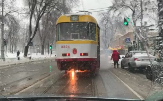 В Одессе загорелся трамвай (фото, видео) «фото»