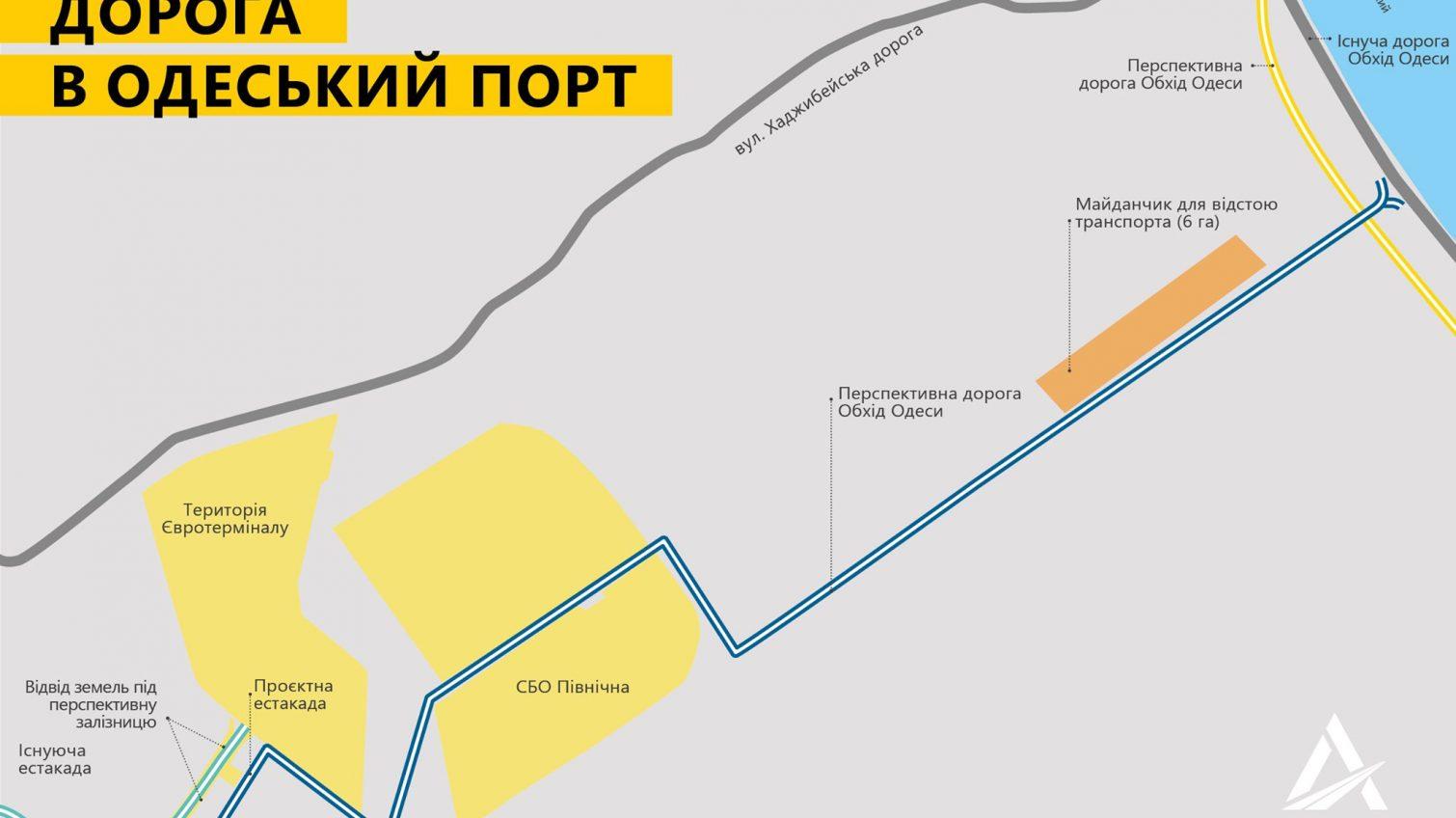 Укравтодор показал схему новой дороги в Одесский морпорт «фото»