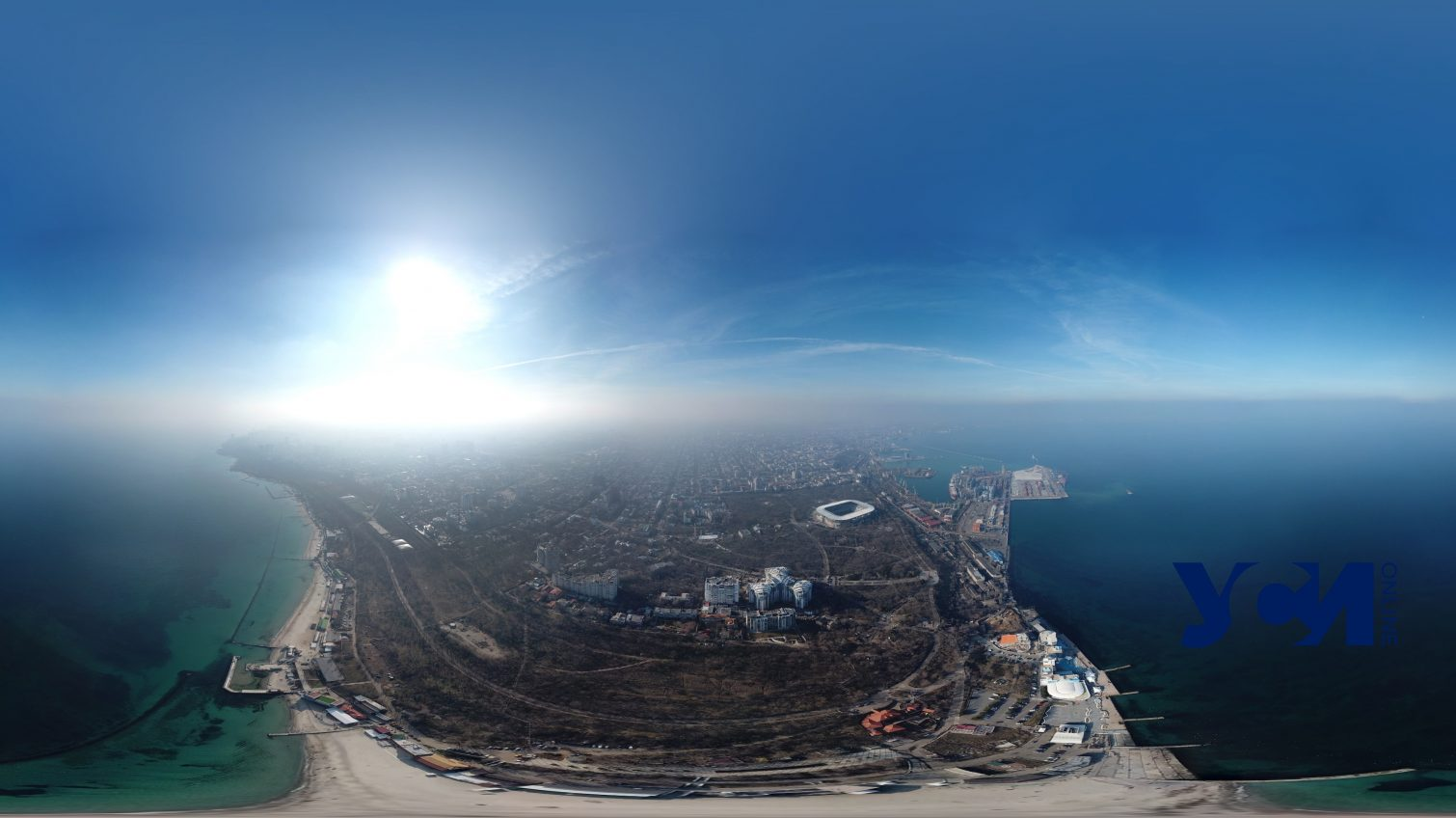 Скоро весна: Ланжерон в лучах февральского солнца (аэросъемка) «фото»