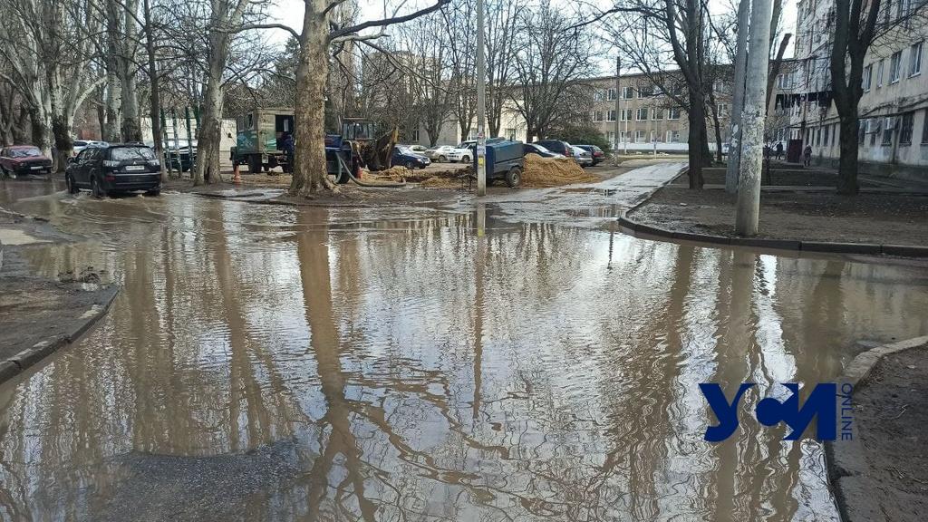На Черемушках затопило двор: жители трех улиц остались без воды (фото) «фото»